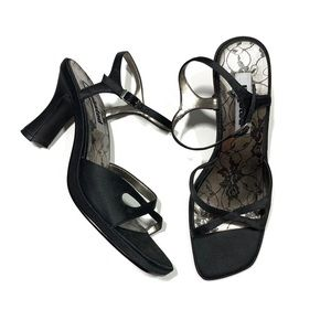 Unlisted Y2K Black Strappy Square Toe Sandals
